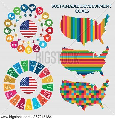 Usa. Icon Set Sustainable Development Goals. Vector Illustration Eps