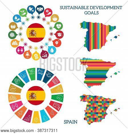 Spain. Icon Set Sustainable Development Goals. Vector Illustration Eps