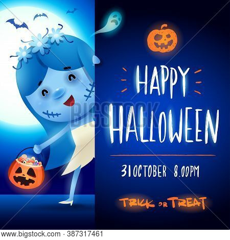 Corpse Bride With Big Signboard. Happy Halloween Calligraphy Lettering Design. Creative Typography F