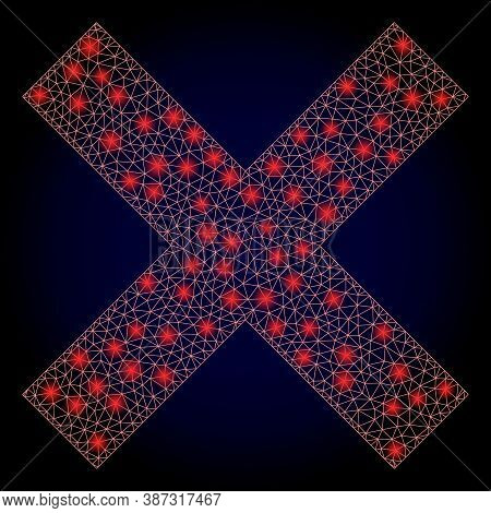 Glowing Mesh Polygonal Reject Cross With Glowing Spots. Illuminated Vector Model Created From Reject