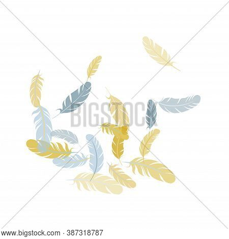 Colorful Silver Gold Feathers Vector Background. Decorative Confetti Of Festive Plumelet. Flying Fea
