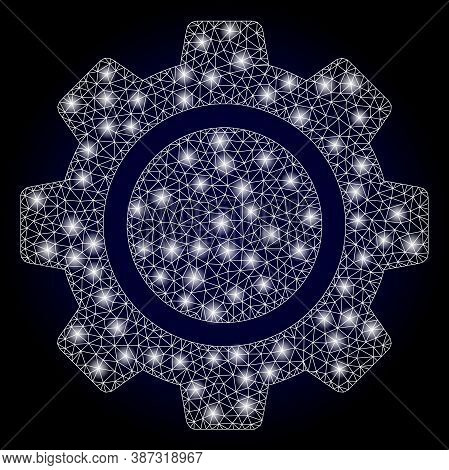 Glowing Mesh Web Cog Wheel With Glowing Spots. Illuminated Vector Model Created From Cog Wheel Icon.