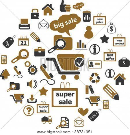 100 internet sales & shop icons set, vector