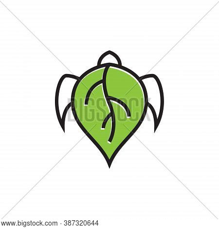 Green Leaf Turtle Tortoise Shell Nature Wildlife Line Logo