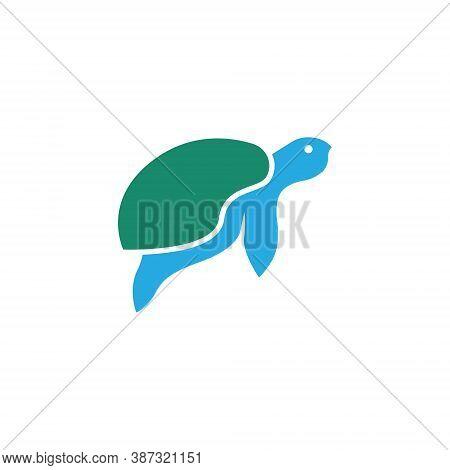 Turtle Tortoise Swimming Aquatic Wildlife Abstract Simple Logo