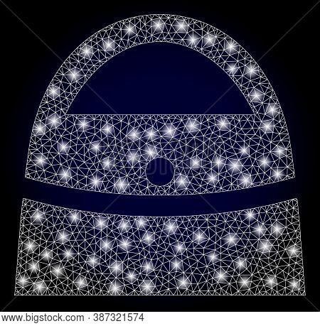 Glowing Mesh Net Shopping Bag With Lightspots. Illuminated Vector Constellation Created From Shoppin