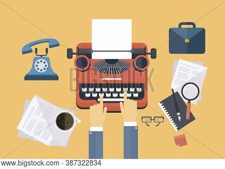 Concept Idea Equipments And Typewriter For Workspace Of Writer Or Journalist, Flat Line Vector And I