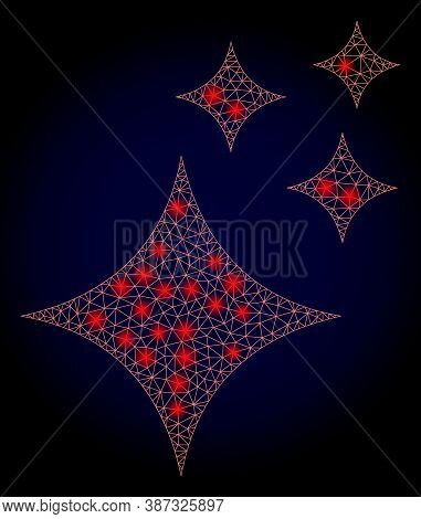 Glowing Mesh Polygonal Shine Stars With Glowing Spots. Illuminated Vector Constellation Created From