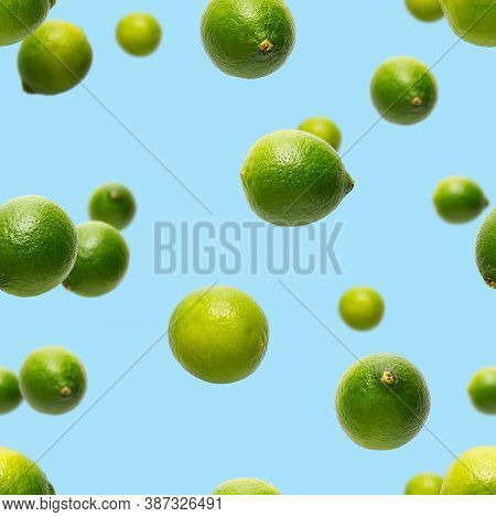 Seamless Pattern With Falling Green Lime. Tropical Abstract Seamless Pattern Background. Lime On The