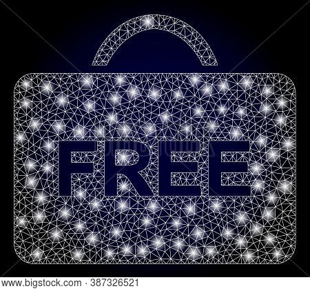 Bright Mesh Polygonal Free Case With Lightspots. Illuminated Vector Constellation Created From Free