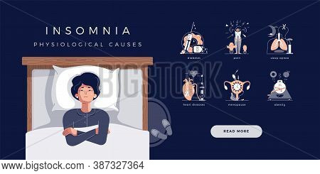 Mature Senior Woman Suffers From Insomnia. Vector Illustration Of Main Physiological Causes: Diabete