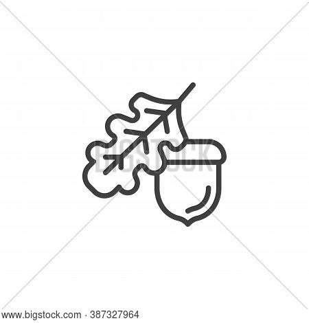 Oak Tree Leaf And Acorn Line Icon. Linear Style Sign For Mobile Concept And Web Design. Acorn And Le