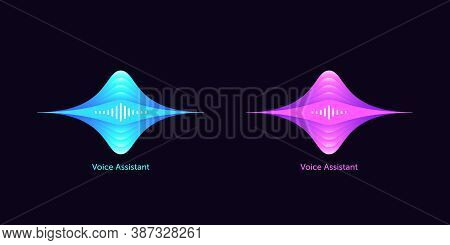 Soundwave Shape For Virtual Voice Assistant. Abstract Acoustic Wave And Equalizer, Voice Message Of