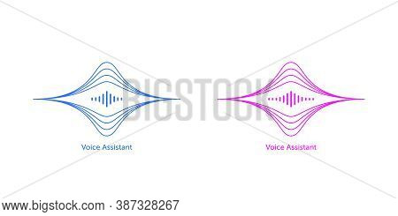 Outlined Soundwave Shape For Virtual Voice Assistant. Abstract Acoustic Wave And Equalizer, Voice Vi