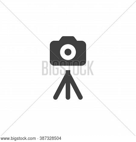 Camera On Tripod Vector Icon. Filled Flat Sign For Mobile Concept And Web Design. Portable Camera St