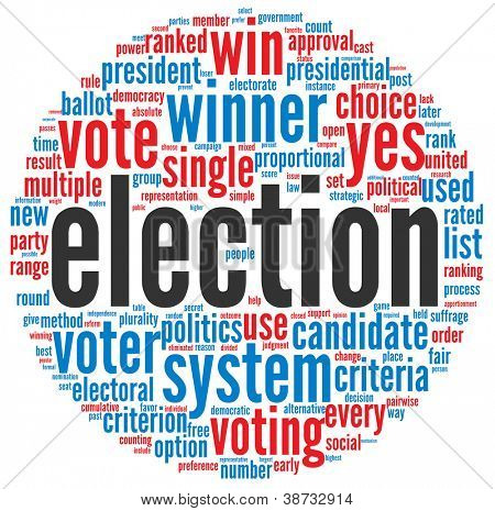 Election concept in word tag cloud on white background