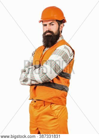 Man Builders, Industry. Worker In Construction Uniform. Architect Builder. Bearded Man Worker With B