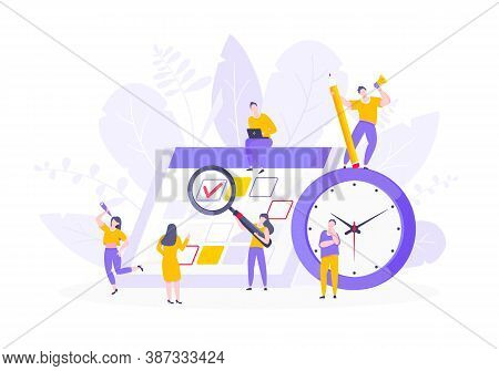 Calendar Planning Schedule Business Concept Vector Illustration. Tiny People With Large Pencil, Magn