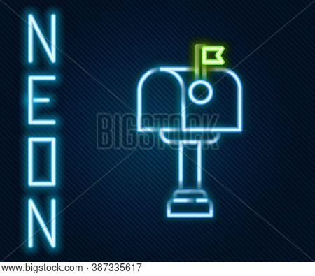 Glowing Neon Line Mail Box Icon Isolated On Black Background. Mailbox Icon. Mail Postbox On Pole Wit