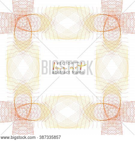 Airy Yellow, Red Open-work Frame. Symmetric Tangled Thin Lines As Threads. Vector Abstract Pattern.