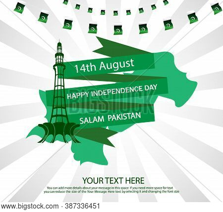 14th August Pakistan National Day With Beautiful White And Green Background .template Vector Illustr