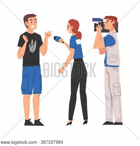 Woman Reporter With Microphone Interviewing Young Man, Cameraman Shooting With Video Camera, Televis