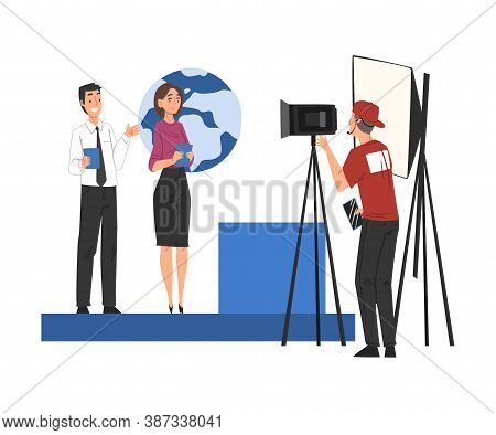Television Industry, Presenters Broadcasting With Cameraman On Television, News, Tv Show Studio Cart