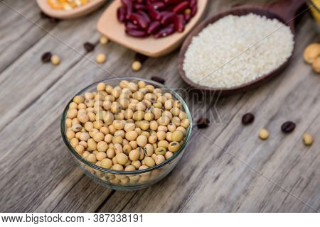 Soybean Or Soya Bean In A Bowl On Wooden Background. Soybean Organic Background.