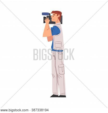 Male Cameraman Shooting With Video Camera, Television Industry Concept Cartoon Style Vector Illustra