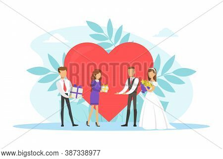 Romantic Couple Of Newlyweds, Guests Giving Gifts To Just Married Bride And Croom Flat Vector Illust
