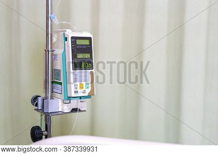 Modern Automatic Infusion Pump For Control Infuses Fluids Medication Or Nutrients Sodium Chloride Sa