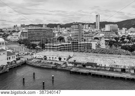 George Town, Penang, Malaysia - December 1, 2019: George Town City View From Top In Cloudy Weather.