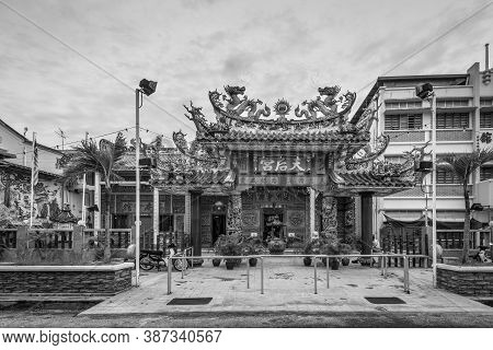 George Town, Penang, Malaysia - December 1, 2019: The Hainan Thean Hou Temple In George Town - Unesc