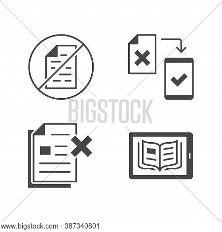 Paperless Flat Glyph Icons. Vector Illustration Included Icon As Less Paperwork, Digital Office, Bur