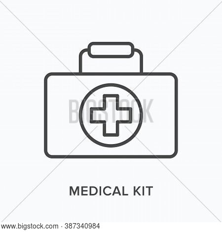 First Aid Kit Flat Line Icon. Vector Outline Illustration Of Medical Safety Box, Doctor Briefcase. E