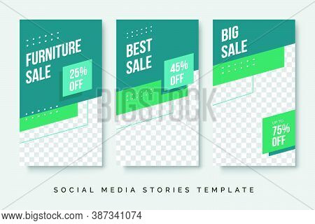 Furniture Sale Banner Social Media Stories Post. Geometric Modern Background Design With Photo Or Im