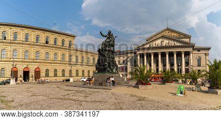 Munich, Bavaria / Germany - 17 September 2020: Statue Of King Maximilian Joseph I Of Bavaria At The
