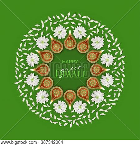 Green Diwali. Concept Design. Traditional Deepavali Festival Background With Burning Diya Lamps And