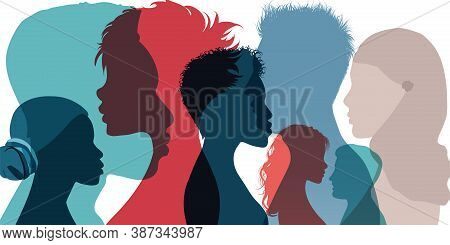 Racial Equality And Anti-racism. Silhouette Profile Group Of Men Women And Girl Of Diverse Culture.