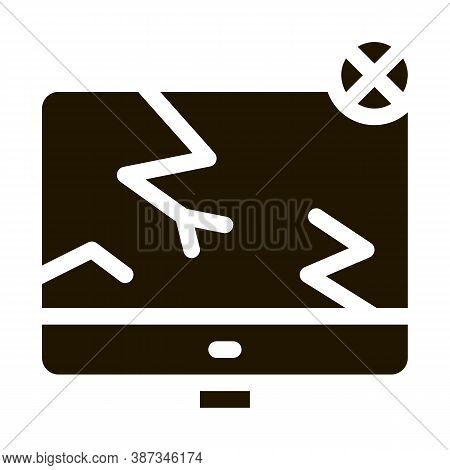 Wrecked Screen Glyph Icon Vector. Wrecked Screen Sign. Isolated Symbol Illustration
