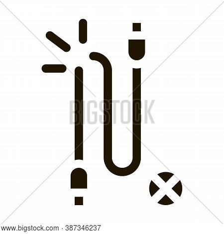 Cable Breakdown Glyph Icon Vector. Cable Breakdown Sign. Isolated Symbol Illustration
