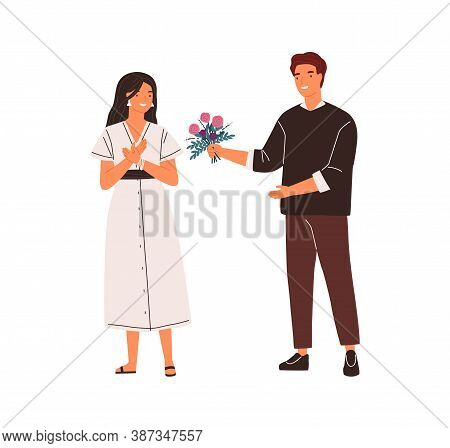 Smiling Male Admirer Giving Beautiful Flowers To Female Vector Flat Illustration. Man Making Present