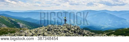 Panorama Mountain Valley With Green Forests, Rear View Girl Is Sitting On Guy Shoulders With Opening