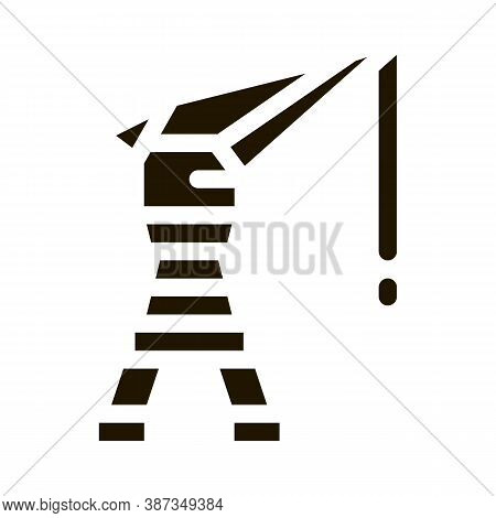 Seaport Crane Glyph Icon Vector. Seaport Crane Sign. Isolated Symbol Illustration
