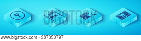 Set Isometric Fragile Broken Glass, Warehouse, Shopping Cart On Laptop And Search Package Icon. Vect