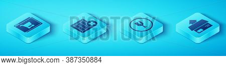 Set Isometric Online Shopping On Screen, Wooden Box And Delete, Carton Cardboard Box And Fragile Bro