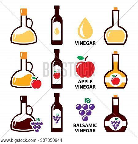 Vinegar Vector Icon Set - Apple Cider Vinegar And Balsamic Vinegar Color Design, Healthy Food Concep