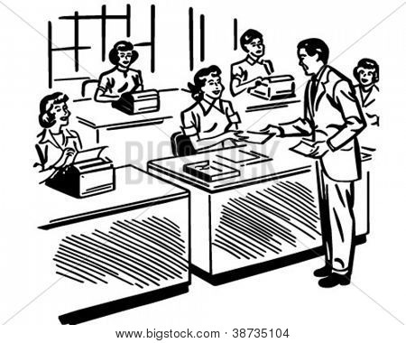 Secretarial Pool - Retro Clipart Illustration