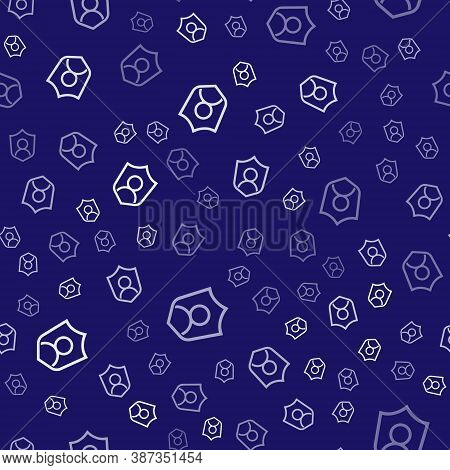 White User Protection Icon Isolated Seamless Pattern On Blue Background. Secure User Login, Password