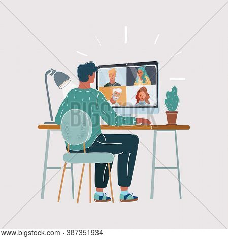 Vector Illustration Of Back View Of Young Man Work Remotely At Home Video Conference Remote Call To
